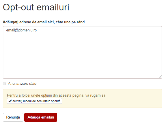 opt out emailuri