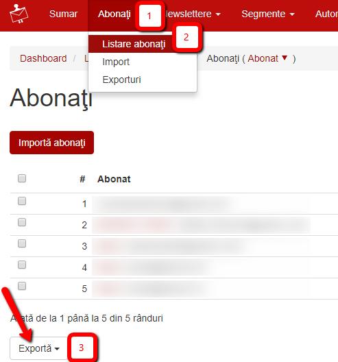 export lista de abonati