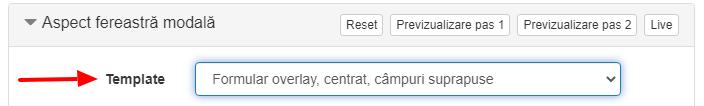 template formular overlay centrat