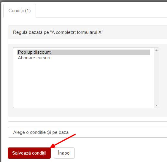 Conditia a completat formularul x
