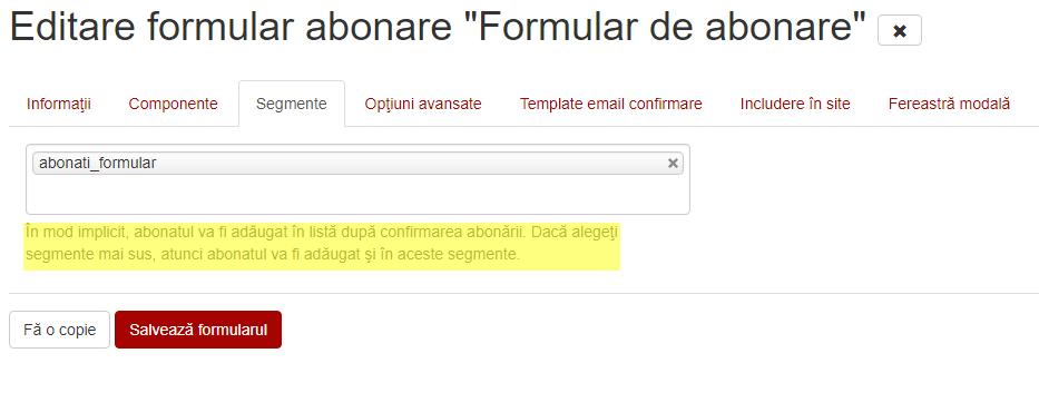 selectare segment pentru formular
