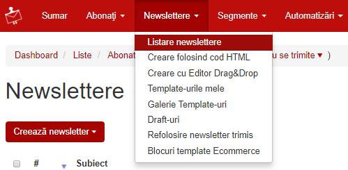 newslettere listare newslettere