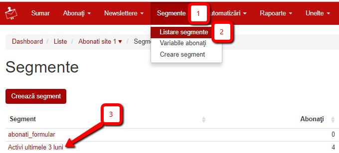 listare segmente click pe segment
