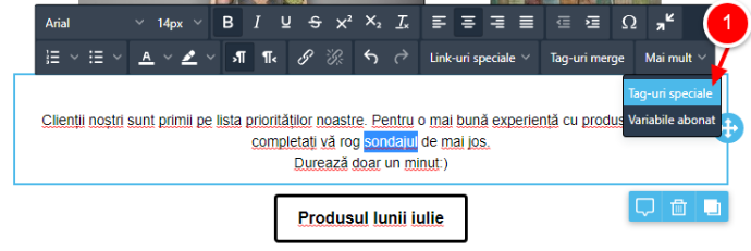tag special pe text