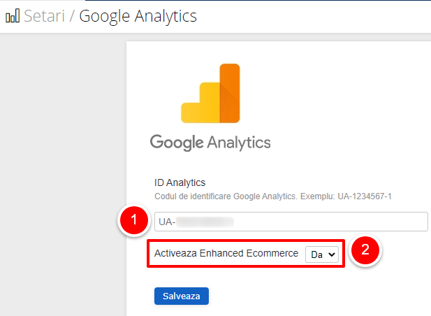 Setari Google analytics