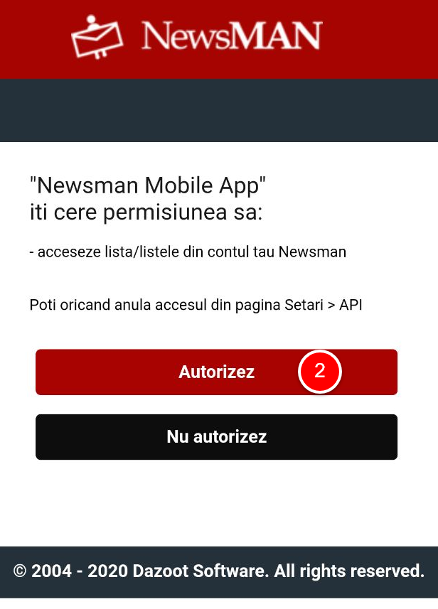 Autorizez accesul Newsmanapp