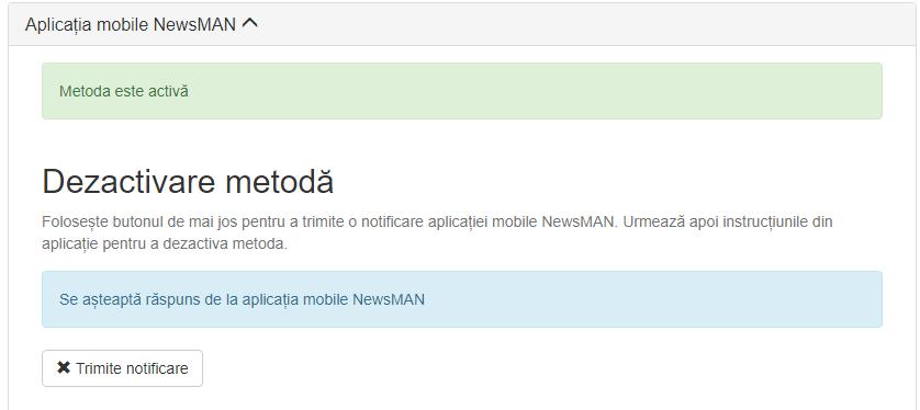 dezactivare autentificare prin aplicatia mobile Newsman